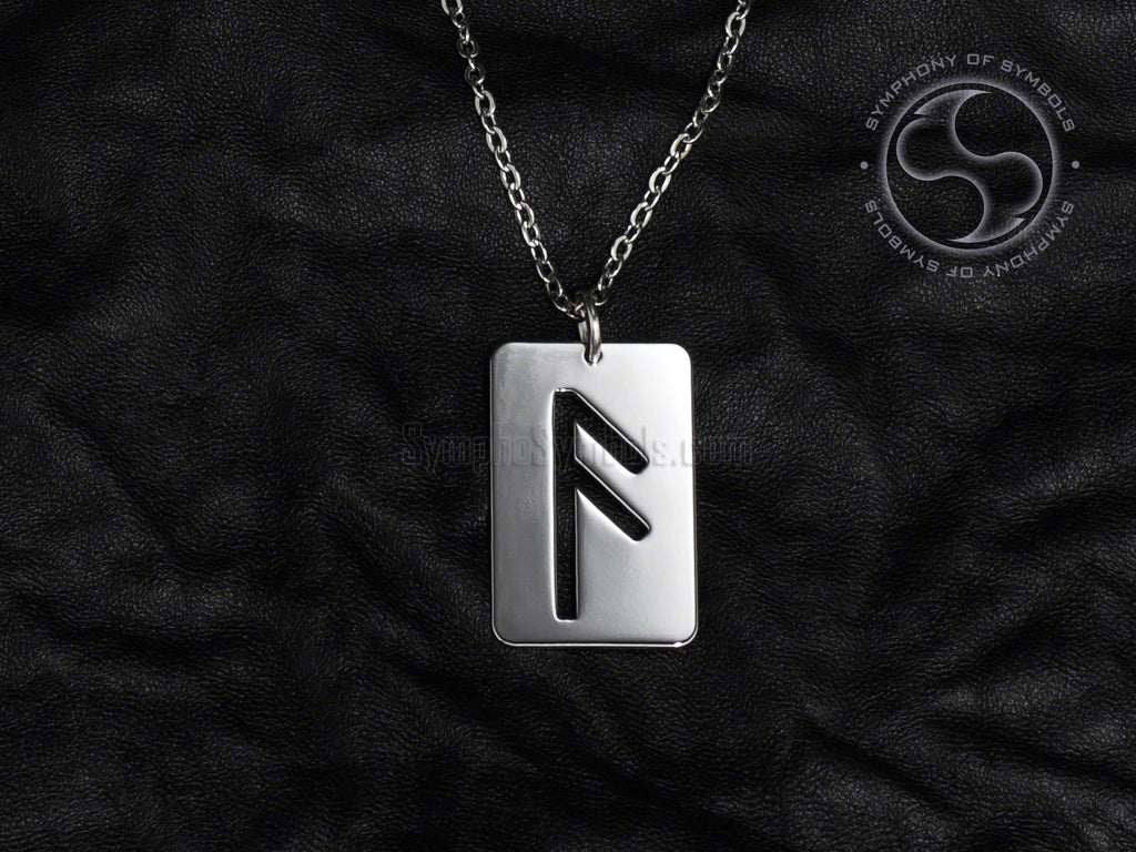 Stainless Steel Necklace with Elder Futhark Ansuz Rune Symbol