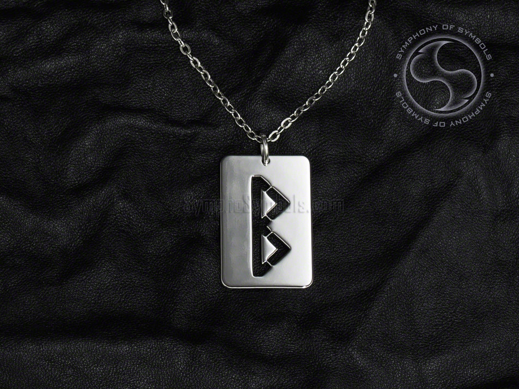 Stainless Steel Necklace with Elder Futhark Berkana Rune Symbol