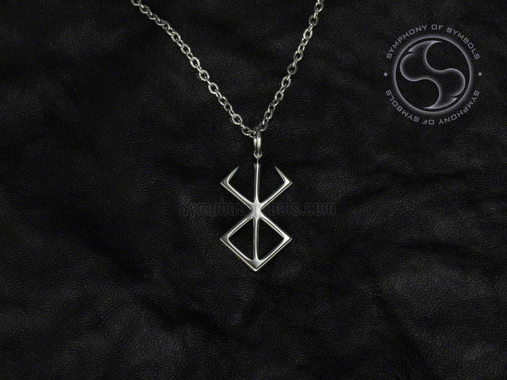 Stainless Steel Necklace with Berserker Rune Symbol
