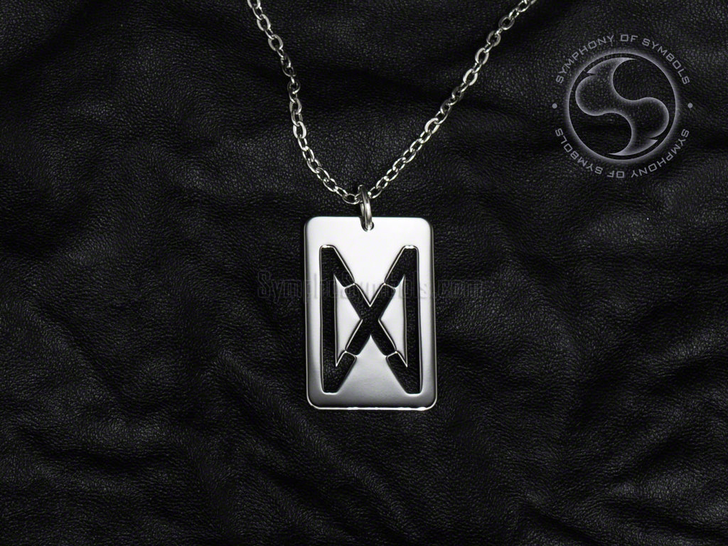 Stainless Steel Necklace with Elder Futhark Dagaz Rune Symbol