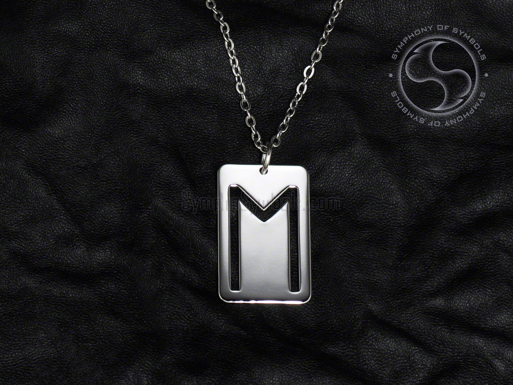 Stainless Steel Necklace with Elder Futhark Ehwaz Rune Symbol