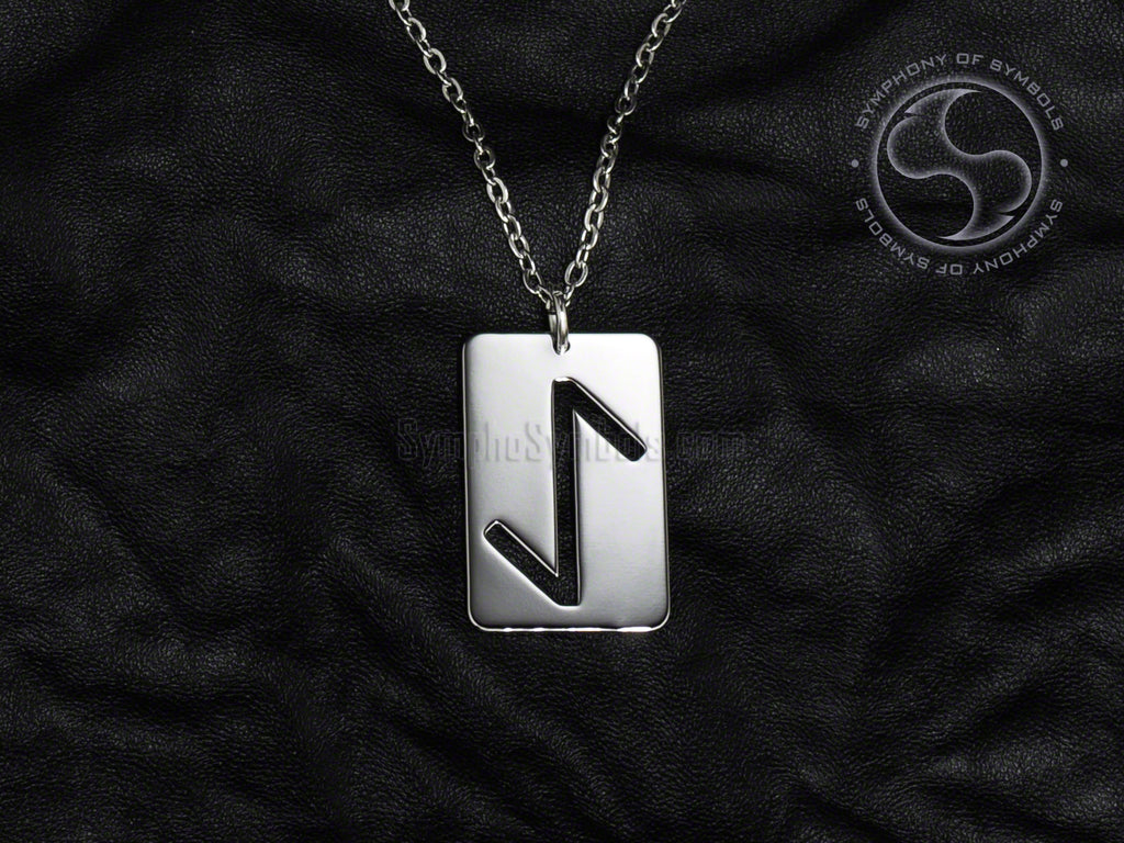 Stainless Steel Necklace with Elder Futhark Eihwaz Rune Symbol