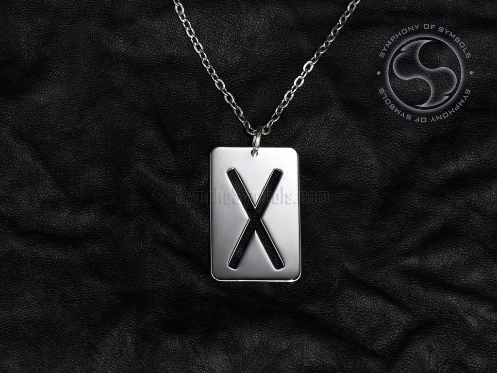 Stainless Steel Necklace with Elder Futhark Gebo Rune Symbol