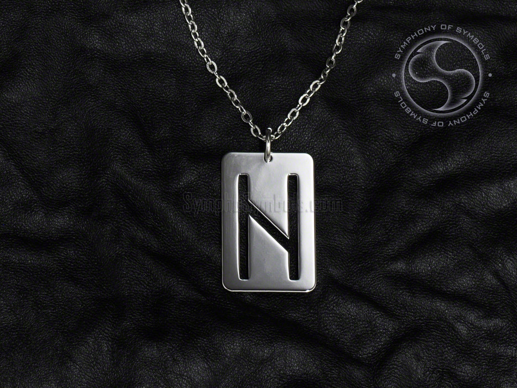 Stainless Steel Necklace with Elder Futhark Hagalaz Rune Symbol