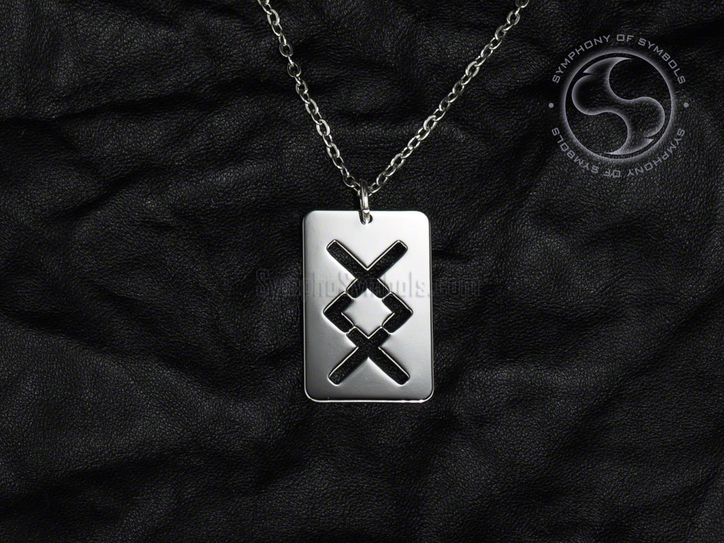 Stainless Steel Necklace with Elder Futhark Ingwaz Rune Symbol