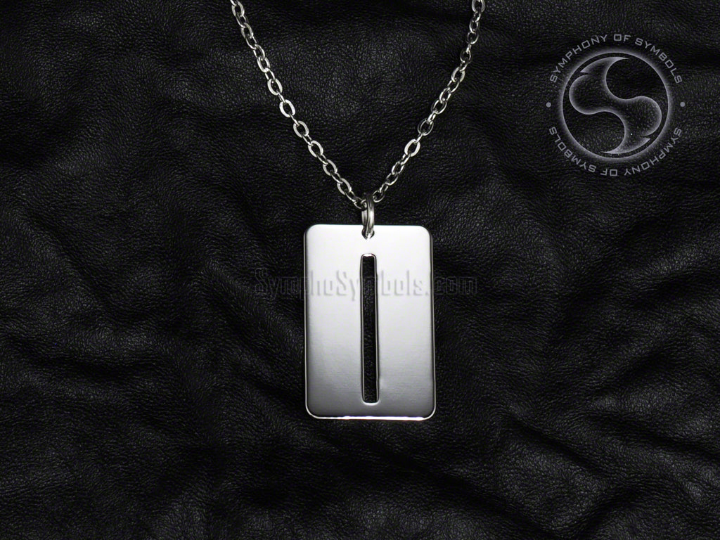 Stainless Steel Necklace with Elder Futhark Isa Rune Symbol
