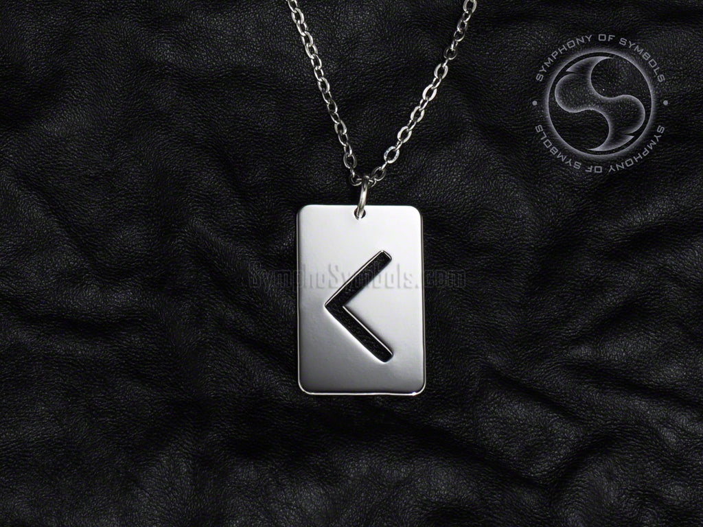 Stainless Steel Necklace with Elder Futhark Kenaz Rune Symbol
