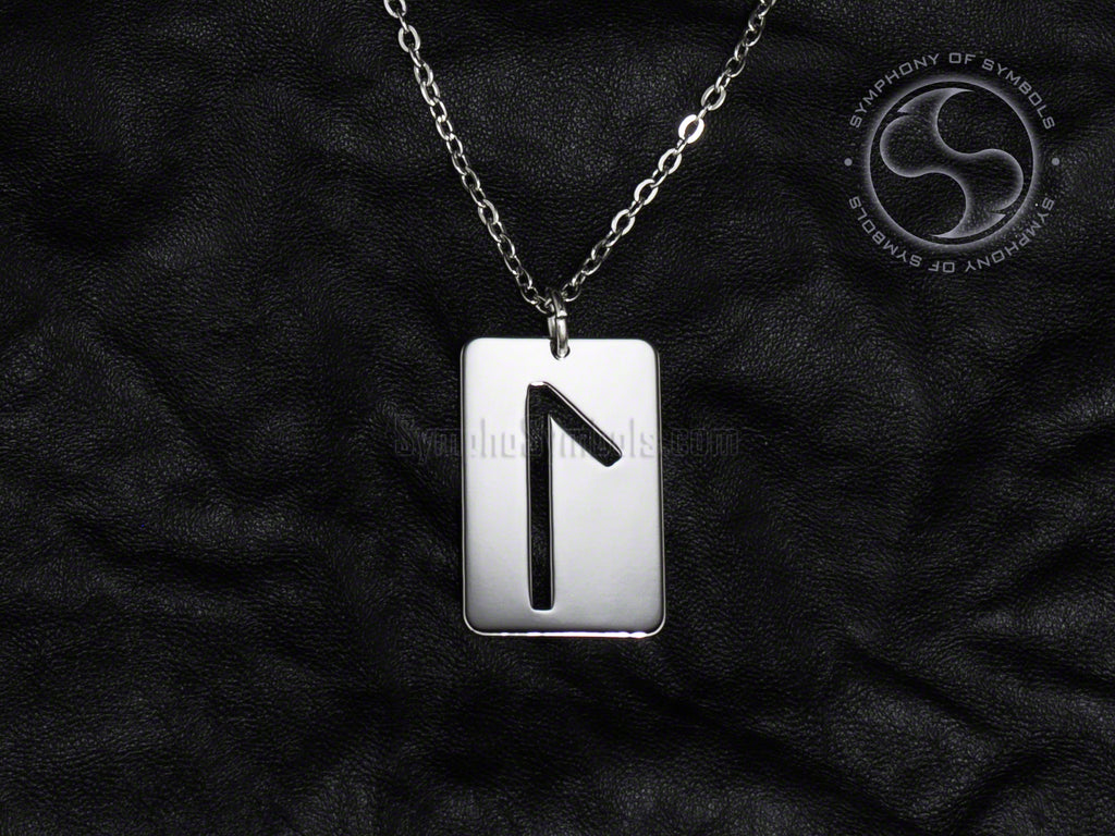 Stainless Steel Necklace with Elder Futhark Laguz Rune Symbol