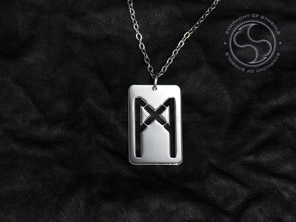 Stainless Steel Necklace with Elder Futhark Mannaz Rune Symbol