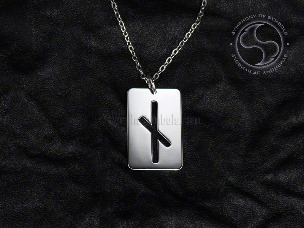 Stainless Steel Necklace with Elder Futhark Nauthiz Rune Symbol