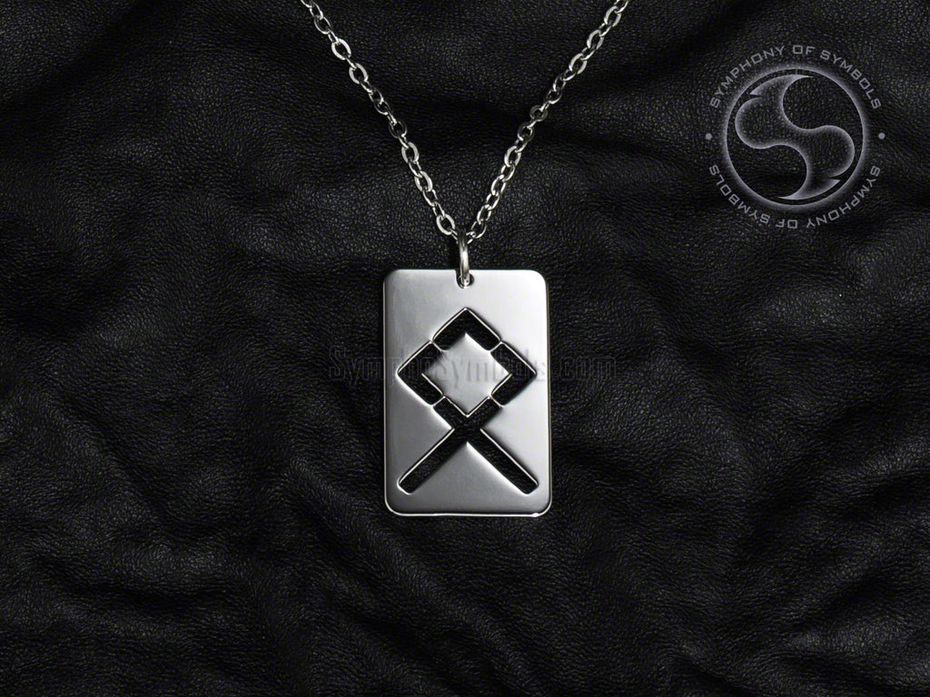Stainless Steel Necklace with Elder Futhark Odal Rune Symbol