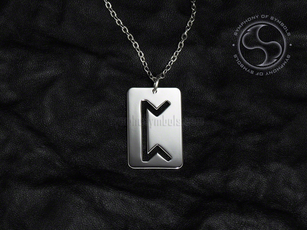 Stainless Steel Necklace with Elder Futhark Perthro Rune Symbol
