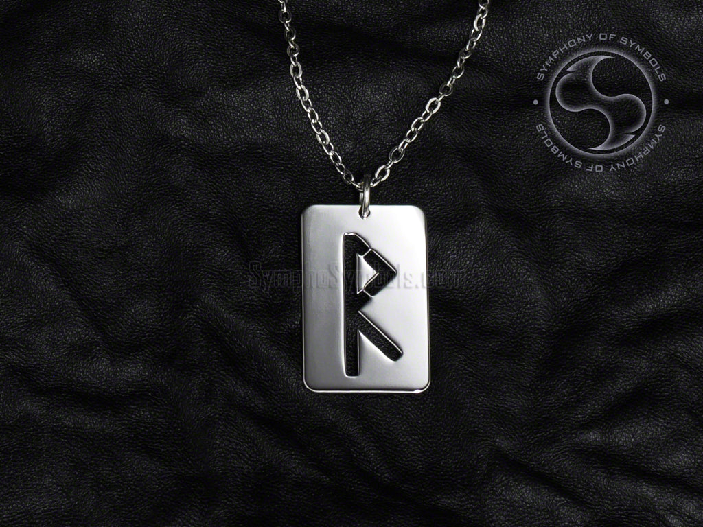 Stainless Steel Necklace with Elder Futhark Raido Rune Symbol