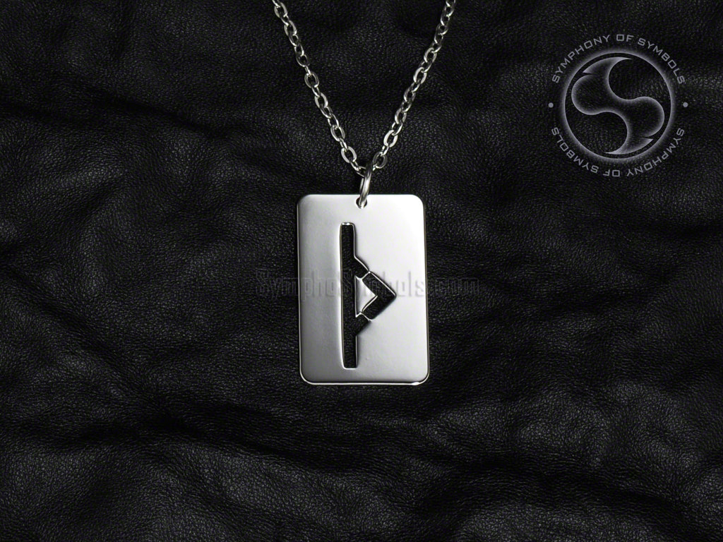 Stainless Steel Necklace with Elder Futhark Thurisaz Rune Symbol