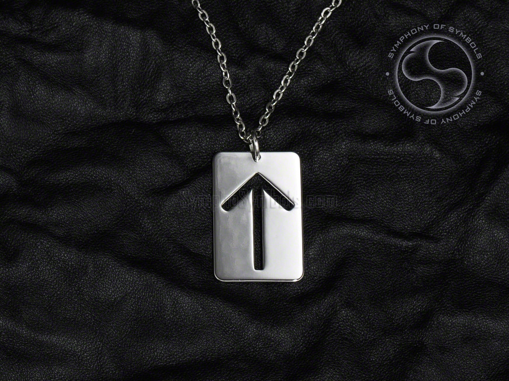 Stainless Steel Necklace with Elder Futhark Tiwaz Rune Symbol