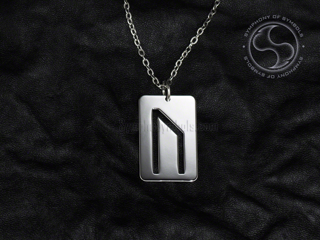 Stainless Steel Necklace with Elder Futhark Uruz Rune Symbol