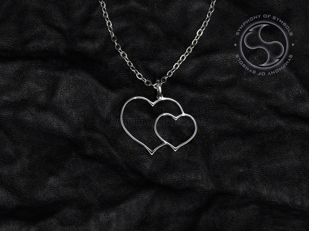 Stainless Steel Necklace with Double Heart Symbol