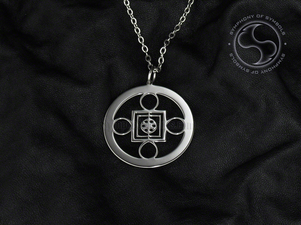 Stainless Steel Necklace with Shambala Yantra Symbol