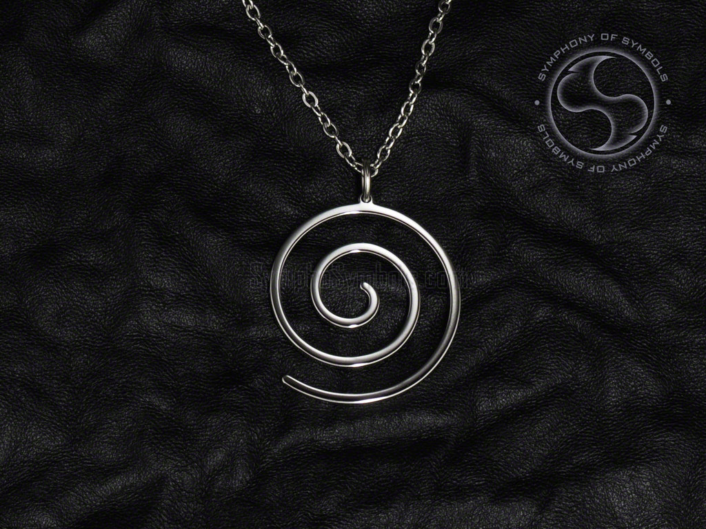 Stainless Steel Necklace with Spiral Symbol
