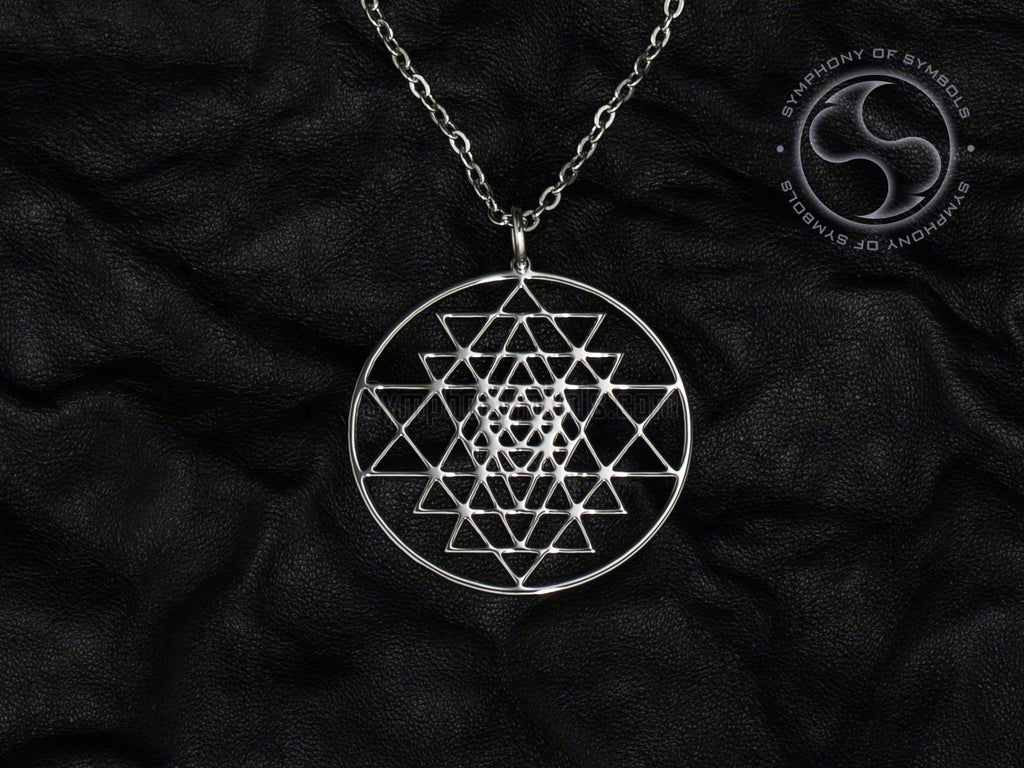 Stainless Steel Necklace with Hindu Sri Yantra Symbol