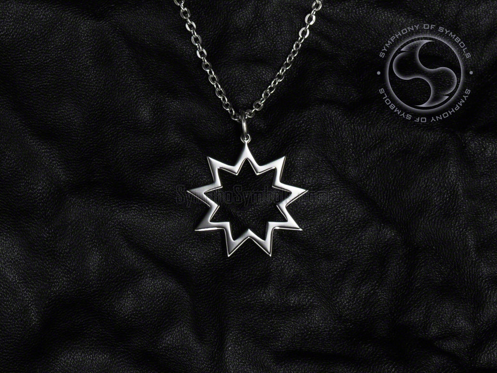 Stainless Steel Necklace with Bahai Symbol