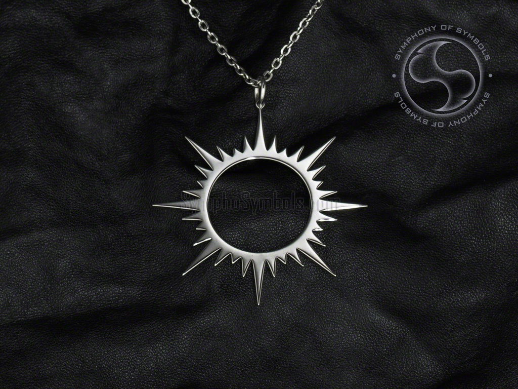 Stainless Steel Necklace with Solar Eclipse Symbol