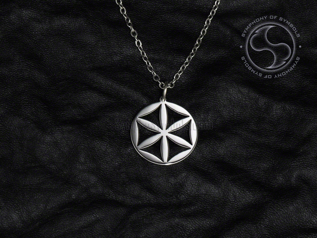 Stainless Steel Necklace with Slavic Svarga Symbol