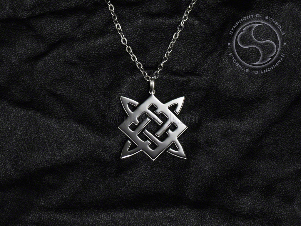 Stainless Steel Necklace with Slavic Svarog Square Symbol