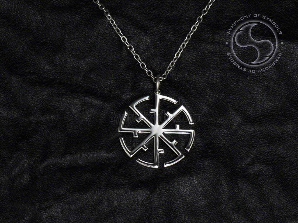 Stainless Steel Necklace with Double Kolovrat Svitovit Symbol