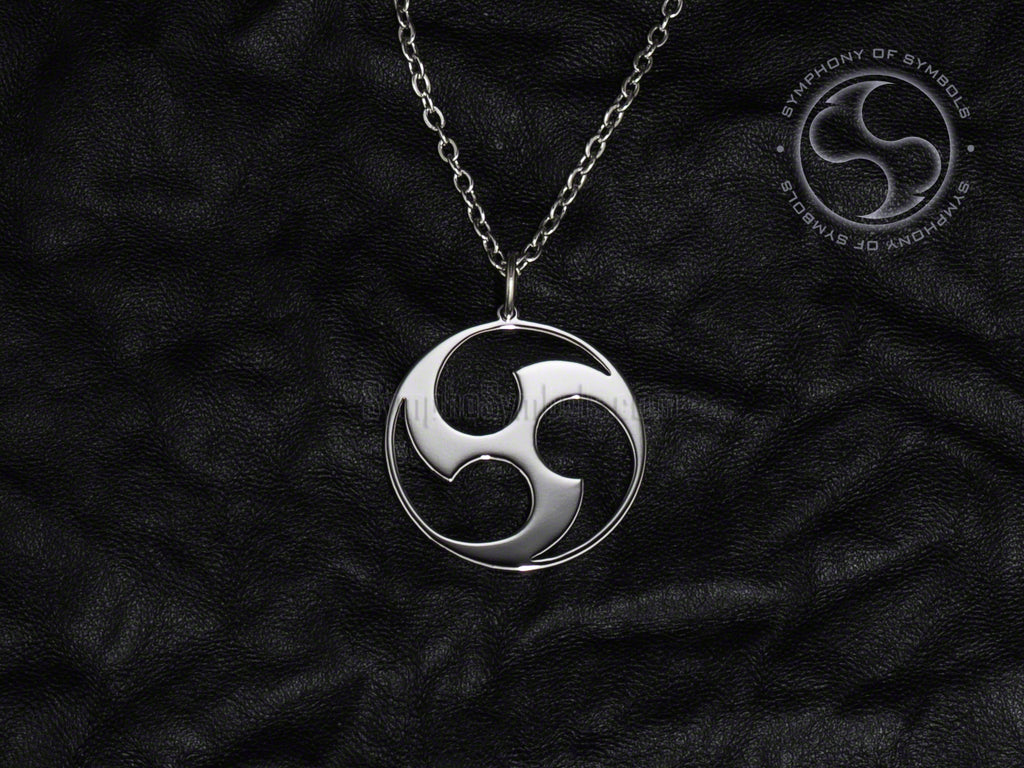 Stainless Steel Necklace with Shinto Mitsudomoe Symbol