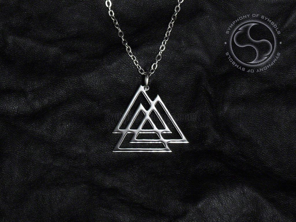 Valknut Logo Necklace Stainless Steel Symbol