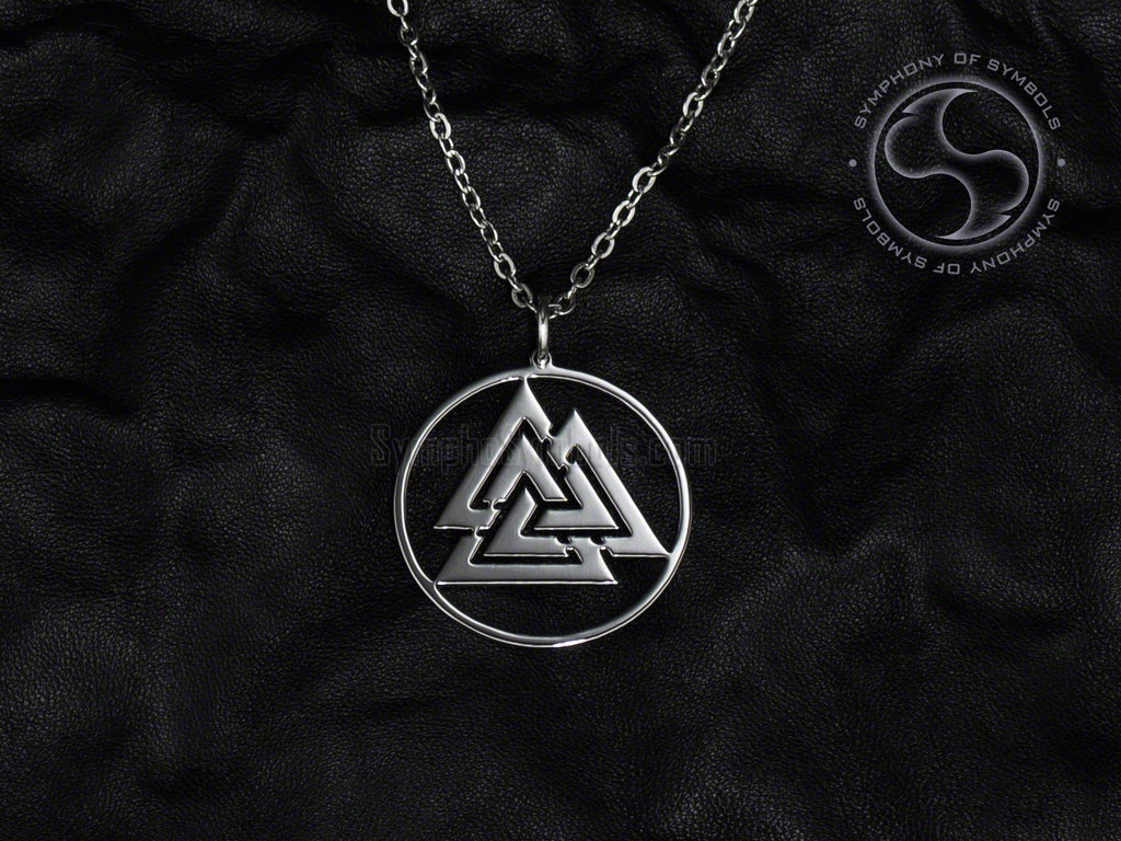 Stainless Steel Necklace with Valknut Symbol in Circle