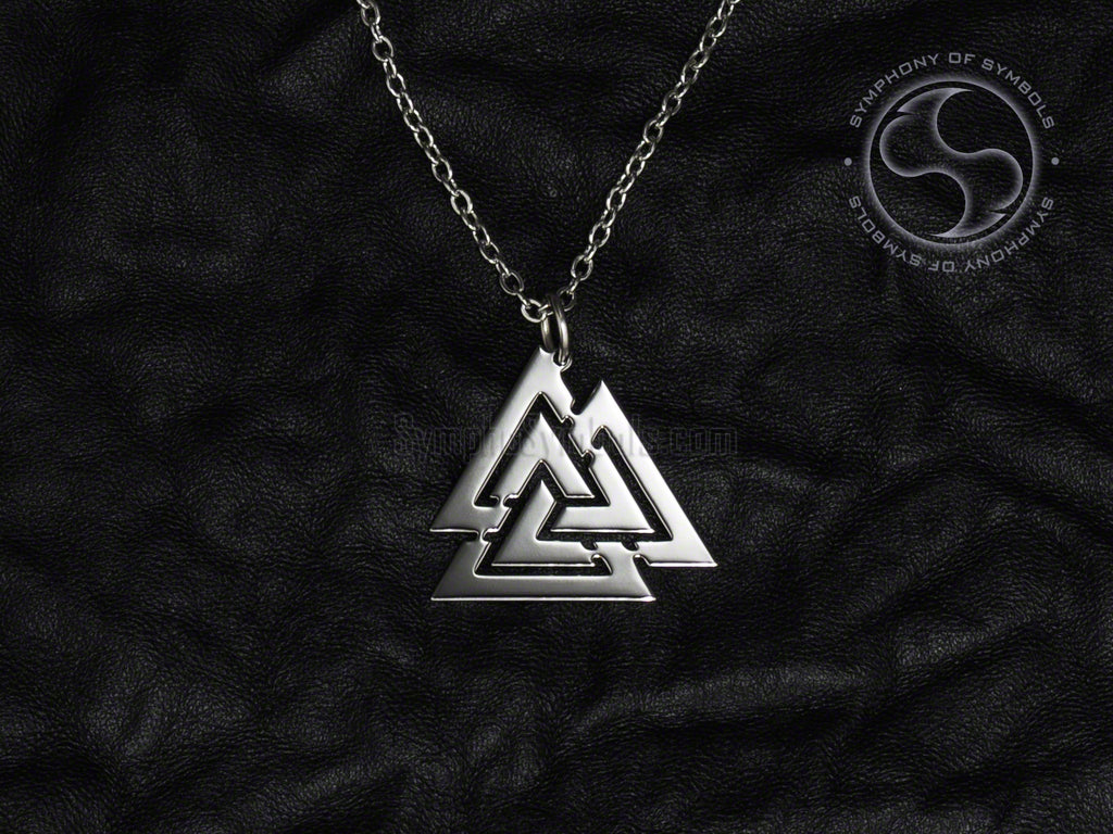Stainless Steel Necklace with Viking Valknut Symbol