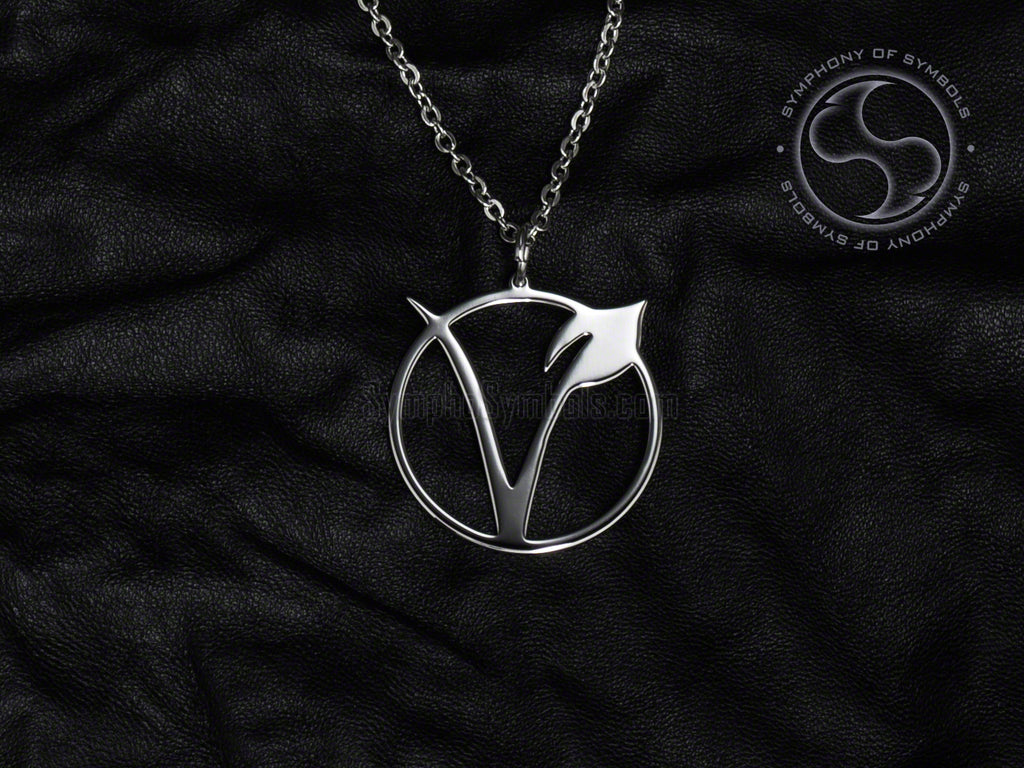 Stainless Steel Necklace with Vegetarian Symbol