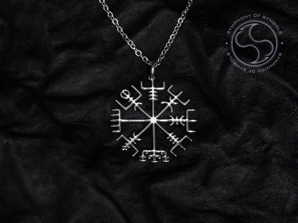 Stainless Steel Necklace with Viking Vegvisir Symbol
