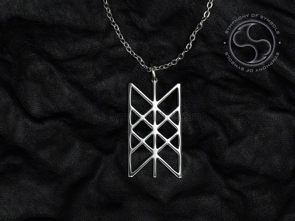Stainless Steel Necklace with Viking Web of Wyrd Symbol