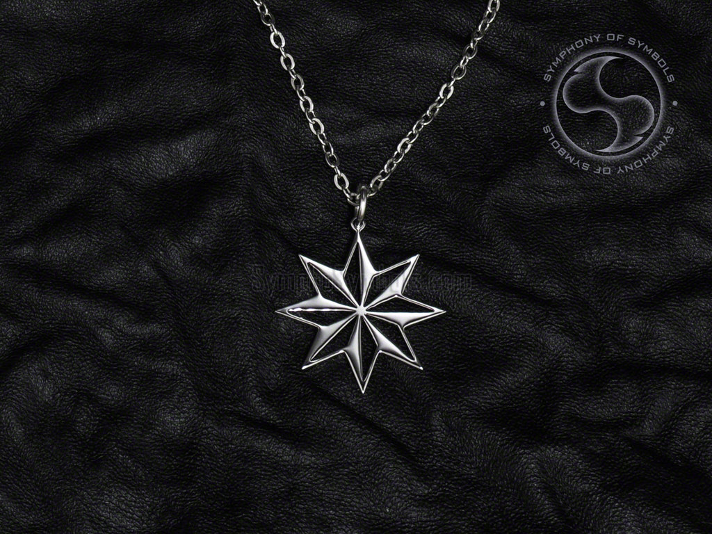 Stainless Steel Necklace with Wind Rose Symbol