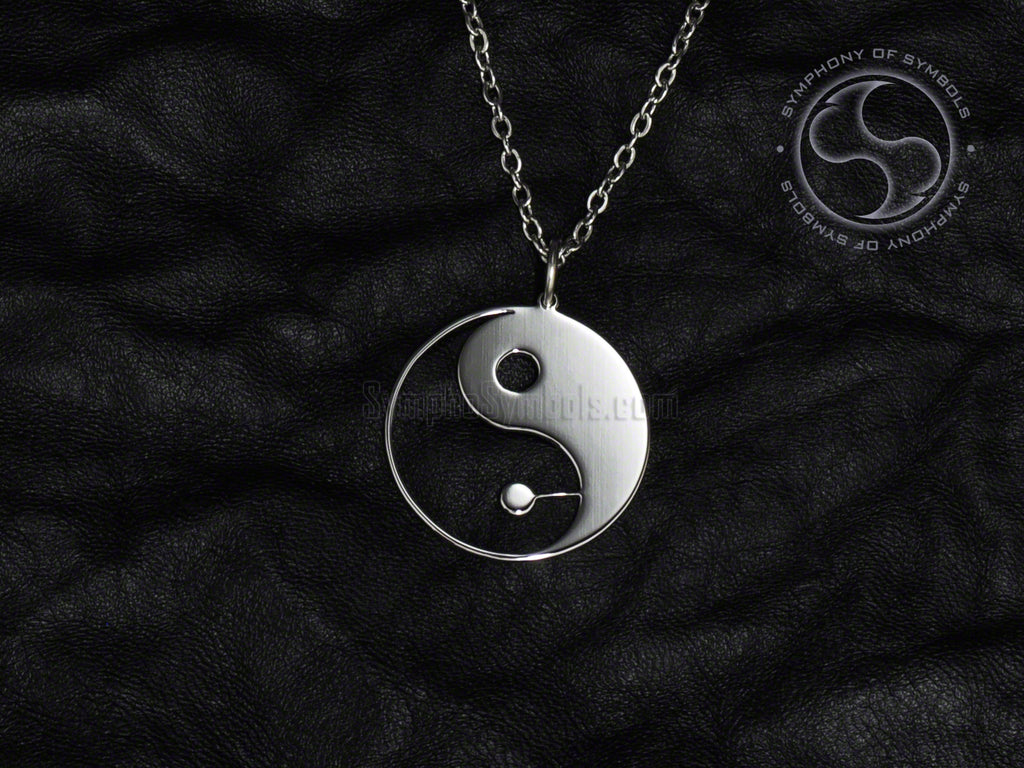 Stainless Steel Necklace with Yin and Yang Symbol