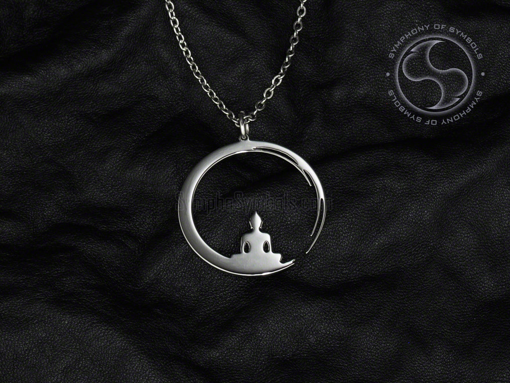 Stainless Steel Necklace with Zen Enso Symbol and Buddha Shape