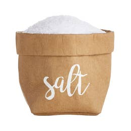 Mini Salt Holder Natural w/ White Font