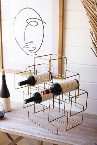 Antique Brass Cubes Wine Rack