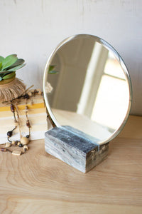 Tabletop Mirror W/Grey Marble Base