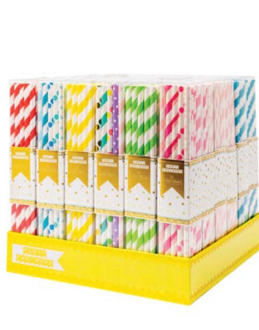 Paper Straws Assorted Colors