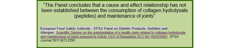 The Panel concludes that a cause and effect relationship has not been established between the consumption of collagen hydrolysate (peptides) and maintenance of joints