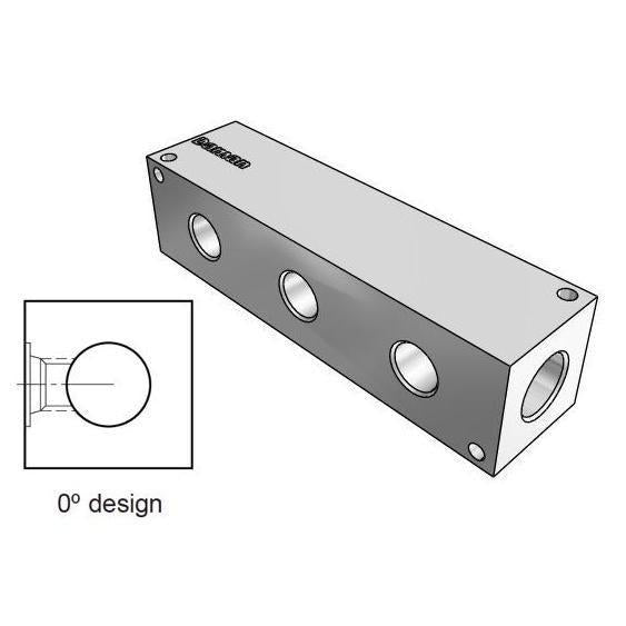 AH0000308S : Daman Header Manifold, Aluminum, 3000psi, Zero Degree, Three Station, #8 SAE (1/2) Ports