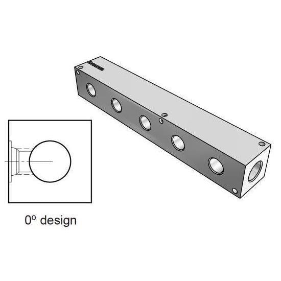 AH0000506P : Daman Header Manifold, Aluminum, 3000psi, Zero Degree, Five Station, 3/8 NPT Ports