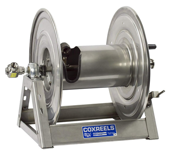 "1125-4-100-E-SP : Coxreels 1125-4-100-E-SP Stainless Steel Compressed Air #4 Gast Motor Rewind Hose Reel, 1/2"" ID, 100' capacity, NO HOSE, 3000psi"