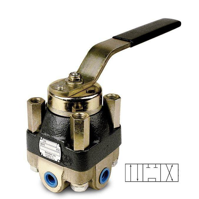143P3AO3-MC : Barksdale Shear Seal Valve, 1/2 NPT, 2000psi Pneumatic Service, Open Center, 3-Position Spring Centered