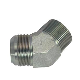 "2503-06-06-FG-OHI : OHI 0.375 (3/8"") Male JIC x 0.375 (3/8"") Male NPT 45-degree Elbow, Forged Steel"