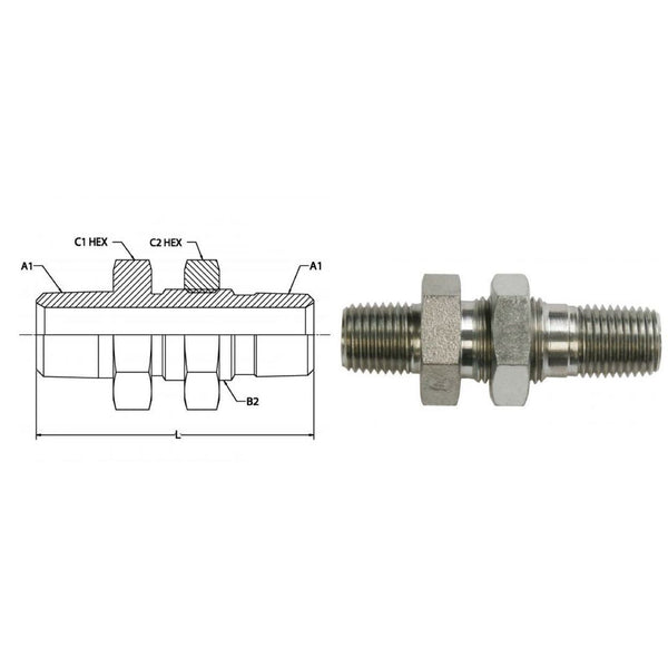 2708-LN-04-04 : Brennan Bulkhead Straight Adapter with Lock Nut, 0.25 (1/4) Male NPT x 0.25 (1/4) Male NPT, Steel